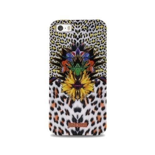 JUST CAVALLI Leopard Flower - Etui iPhone 5/5S + tapeta QR (żółty)