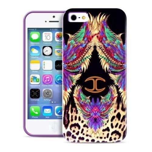 JUST CAVALLI Wings - Etui iPhone 5/5S + tapeta QR (fioletowy)