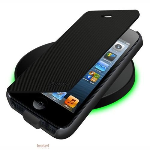 Obudowa z klapką do ładowania indukcyjnego + ładowarka indukcyjna iPhone 5 - czarne - Zens Wireless Charging Flip Cover + Zens Wireless Charging Pad
