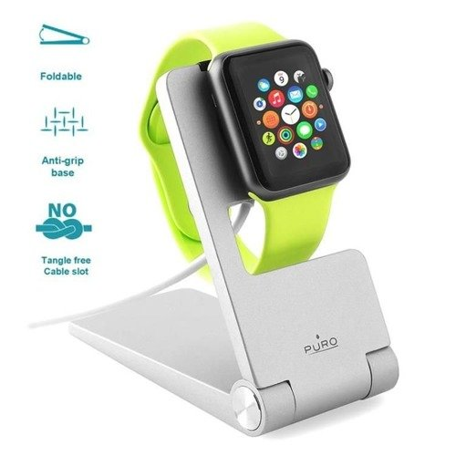 Składany stojak PURO Portable Desk Holder Apple Watch Srebrny