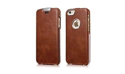 Skórzane etui z klapką I-Carer Warrior Vintage Brown - iPhone 6