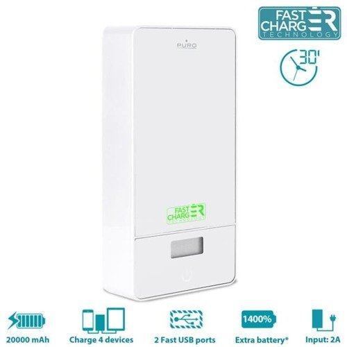 Uniwersalny Power Bank PURO Universal External Fast Charger Battery 20000mAh 6.2A 4USB Biały
