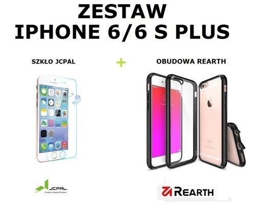 Zestaw Szkło ochronne JCPAL Glass Film + Obudowa Rearth Ringke Fusion Smoke Black Apple iPhone 6 / 6S Plus