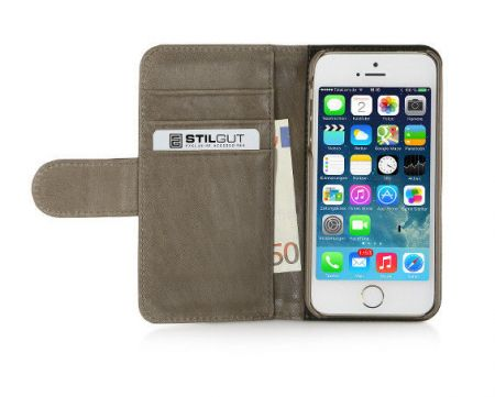 Etui z klapką StilGut Talis Donegal Tweed - camel - iPhone 5 5S