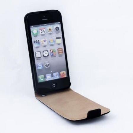 Geffy - Etui iPhone 5/5S Eco Leather flip black