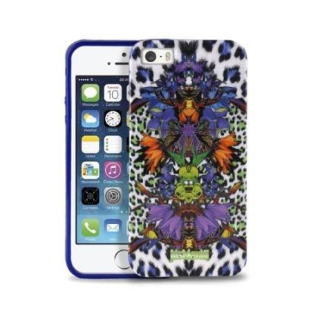 JUST CAVALLI Leopard Flower - Etui iPhone 5/5S + tapeta QR (fioletowy)