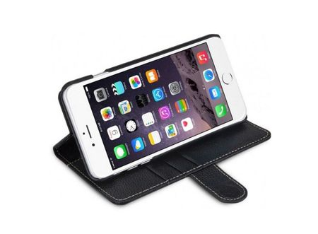 Oryginalne etui Stilgut - Talis Stand - Book Case - Apple iPhone 6 Plus - Karbowana skóra - Czarne