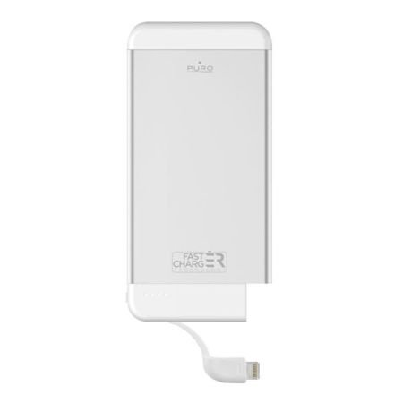 PURO Fast Charger Ultra Slim Power Bank MFi - Power Bank Aluminum z lightning 4100mAh, 2.4A (Silver)