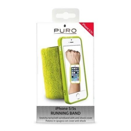 PURO Running Band - Frotka do biegania z etui iPhone 5/5S (limonkowy)