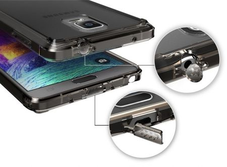 Rearth Ringke Fusion Smoke Black + Folia | Etui dla Samsung Galaxy Note 4