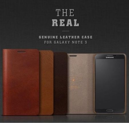 Skórzane etui LAB.C The Real Genuine Leather Case - czerwony brąz - Samsung Galaxy Note 3
