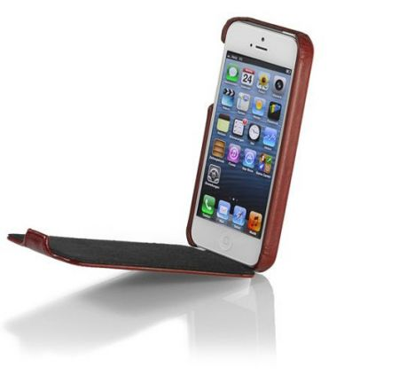 Skórzane etui Stilgut Ultra Slim - bordowe - iPhone 5 5S