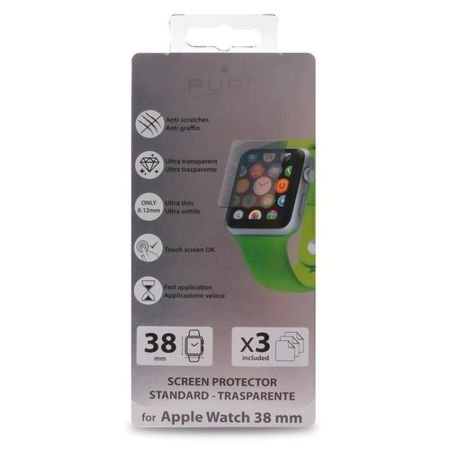 Trzy folie na ekran PURO grubość 0,12 mm Apple Watch 38 mm