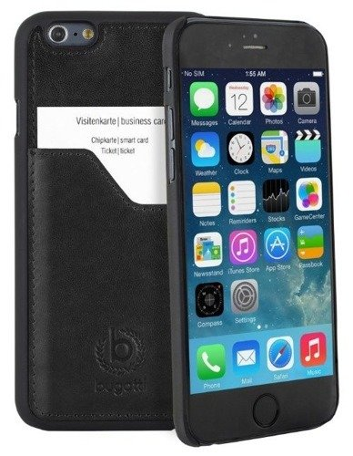 Bugatti Clip on Cover Leather Premium Czarna | Oryginalna obudowa dla modelu Apple iPhone 6 Plus / 6S Plus
