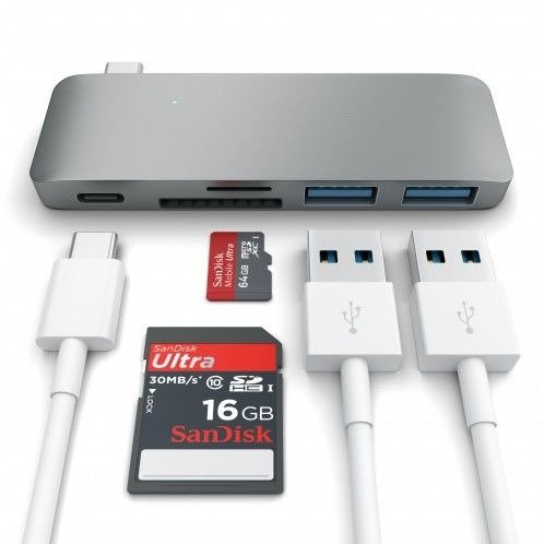 Przejściówka Satechi USB-Hub Type-C USB Srebrna do MacBook 12' Space Gray
