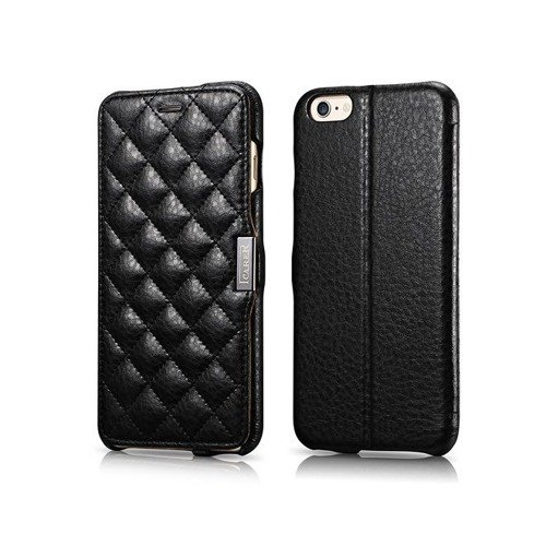 Skórzane etui iCarer Check Black | Apple iPhone 6 Plus / 6S Plus