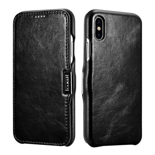 Skórzane etui iCarer Vintage Black | Apple iPhone X / 10