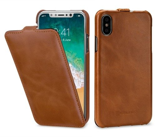 Stilgut UltraSlim Brązowe  | Etui z klapką dla modelu Apple iPhone X / 10