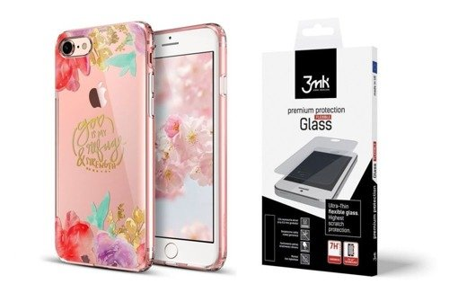 ZESTAW | ETUI ESR ART CASE AQUARELLE FLOWER + FOLIA 3MK FLEXIBLE - iPhone 7 / 8