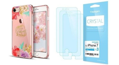ZESTAW | ETUI ESR ART CASE AQUARELLE FLOWER + FOLIA SPIGEN CRYSTAL FILM - iPhone 7 / 8