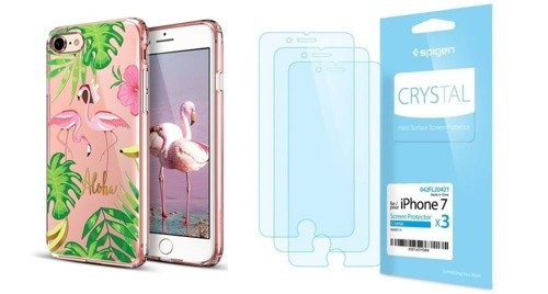 ZESTAW | ETUI ESR ART CASE FLAMINGO + FOLIA SPIGEN CRYSTAL FILM - iPhone 7 / 8