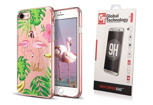 ZESTAW | ETUI ESR ART CASE FLAMINGO + SZKŁO PERFECT GLASS - iPhone 7 / 8
