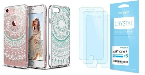 ZESTAW | ETUI ESR ART CASE MINT MANDALA + FOLIA SPIGEN CRYSTAL FILM - iPhone 7 / 8