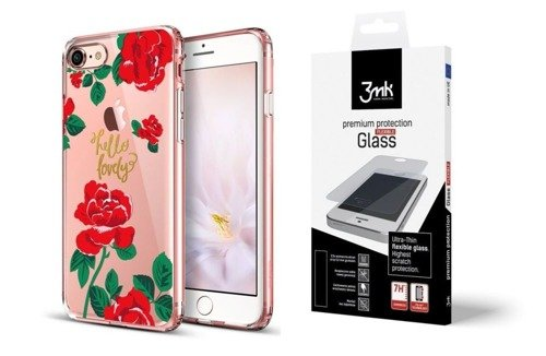ZESTAW | ETUI ESR ART CASE RED ROSE + FOLIA 3MK FLEXIBLE - iPhone 7 / 8