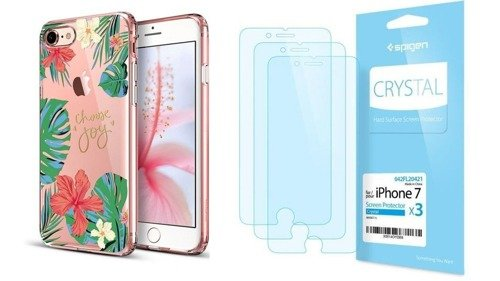 ZESTAW | ETUI ESR ART CASE ROSE OF SHARON + FOLIA SPIGEN CRYSTAL FILM - iPhone 7 / 8