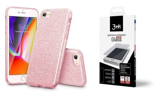 ZESTAW | ETUI ESR GLITTER SHINE + FOLIA 3MK FLEXIBLE - iPhone 7 / 8