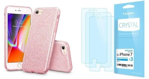 ZESTAW | ETUI ESR GLITTER SHINE + FOLIA SPIGEN CRYSTAL FILM - iPhone 7 / 8