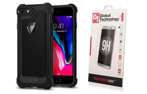 ZESTAW | ETUI SPIGEN RUGGED ARMOR EXTRA BLACK + SZKŁO PERFECT GLASS - iPhone 7 / 8