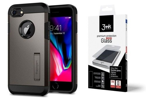 ZESTAW | ETUI SPIGEN TOUGH ARMOR 2 GUNMETAL  + FOLIA 3MK FLEXIBLE - iPhone 7 / 8
