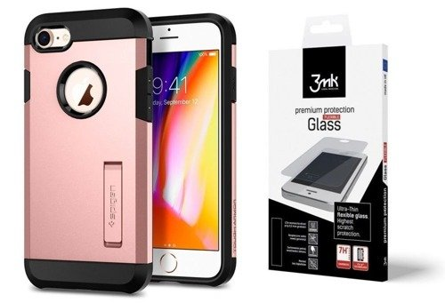 ZESTAW | ETUI SPIGEN TOUGH ARMOR 2 ROSE GOLD  + FOLIA 3MK FLEXIBLE - iPhone 7 / 8