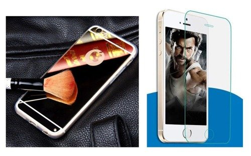 Zestaw | Slim Mirror Case Złoty + Szkło ochronne Perfect Glass | Etui dla Apple iPhone  6 Plus / 6S Plus