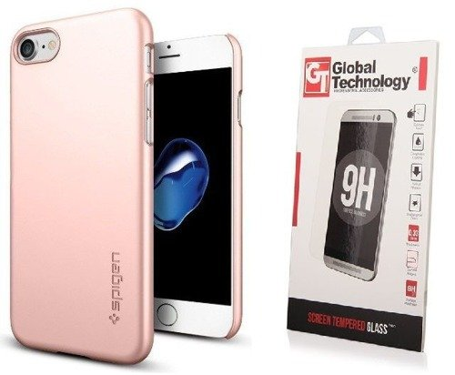 Zestaw | Spigen SGP Thin Fit Rose Gold | Obudowa + Szkło ochronne Perfect Glass dla modelu Apple iPhone 7