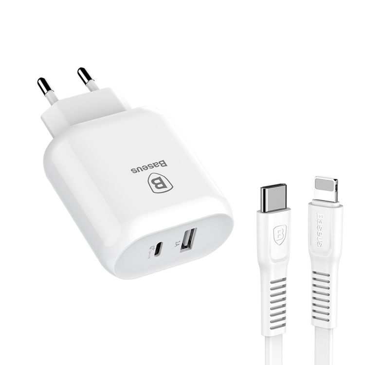 Baseus Bojure ładowarka sieciowa zasilacz EU adapter do telefonu USB C PD USB 1A 32W + kabel USB C Lightning 1M biały
