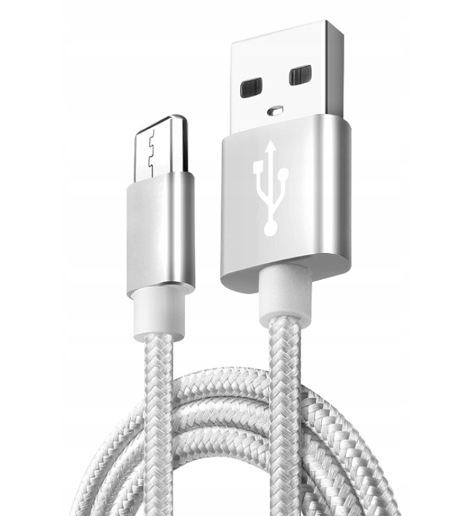 KABEL W OPLOCIE NYLON 1M MICRO USB | QUICK CHARGE 3.0 SREBRNY
