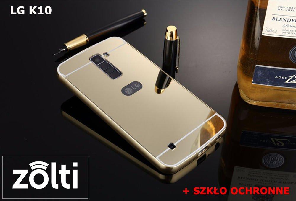 purchase cheap e4195 4b4c0 Zestaw   Mirror Bumper Metal Case Złoty + Szkło ochronne Perfect Glass    Etui dla LG K10