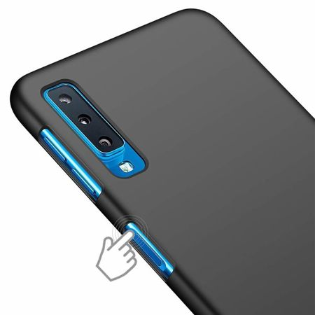 ETUI SAMSUNG GALAXY A7 2018 - ULTRA SLIM SOFT MAT - BLACK + SZKŁO