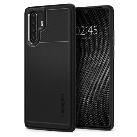 ETUI do HUAWEI P30 PRO - SPIGEN RUGGED ARMOR BLACK + SZKŁO