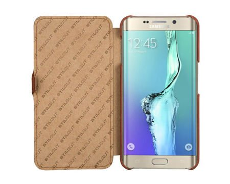 Etui Stilgut  UltraSlim Book Samsung Galaxy S6 Edge + Koniakowe