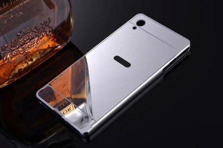 ... Obudowa Bumper Metal Mirror Case Sony Xperia M4 Aqua Srebna