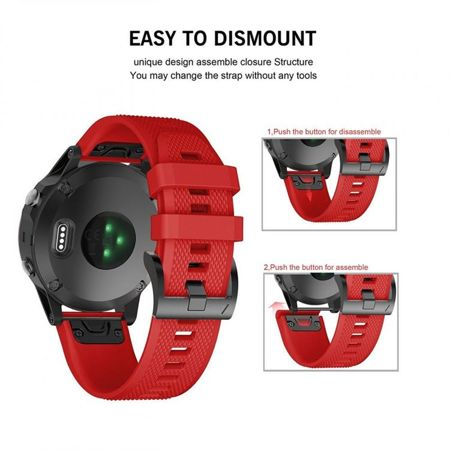 Pasek Tech-Protect Smooth Red do Garmin Fenix 5S (20mm)
