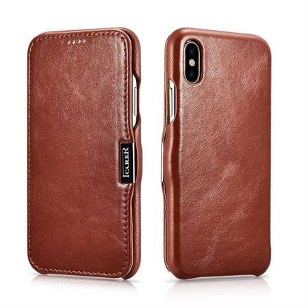 Skórzane etui iCarer Vintage Brown | Apple iPhone X / 10