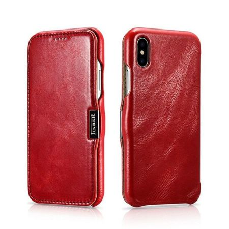 Skórzane etui iCarer Vintage Red | Apple iPhone X / 10