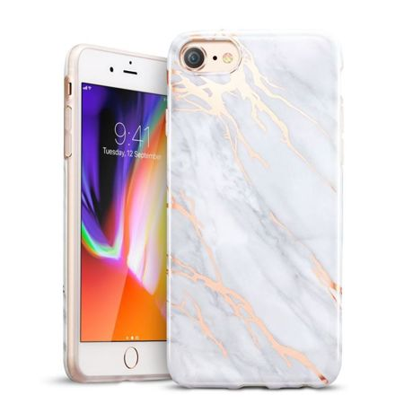 ZESTAW | ETUI ESR MARBLE GRAY + FOLIA 3MK FLEXIBLE - iPhone 7 / 8