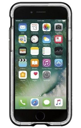 ZESTAW | ETUI SPIGEN CRYSTAL HYBRID BLACK + FOLIA 3MK FLEXIBLE - iPhone 7 / 8