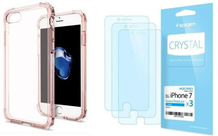 ZESTAW | ETUI SPIGEN CRYSTAL SHELL ROSE CRYSTAL + FOLIA SPIGEN CRYSTAL FILM  - iPhone 7 / 8