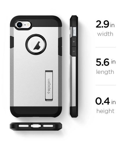 ZESTAW | ETUI SPIGEN TOUGH ARMOR 2 STAIN SILVER + FOLIA 3MK FLEXIBLE - iPhone 7 / 8